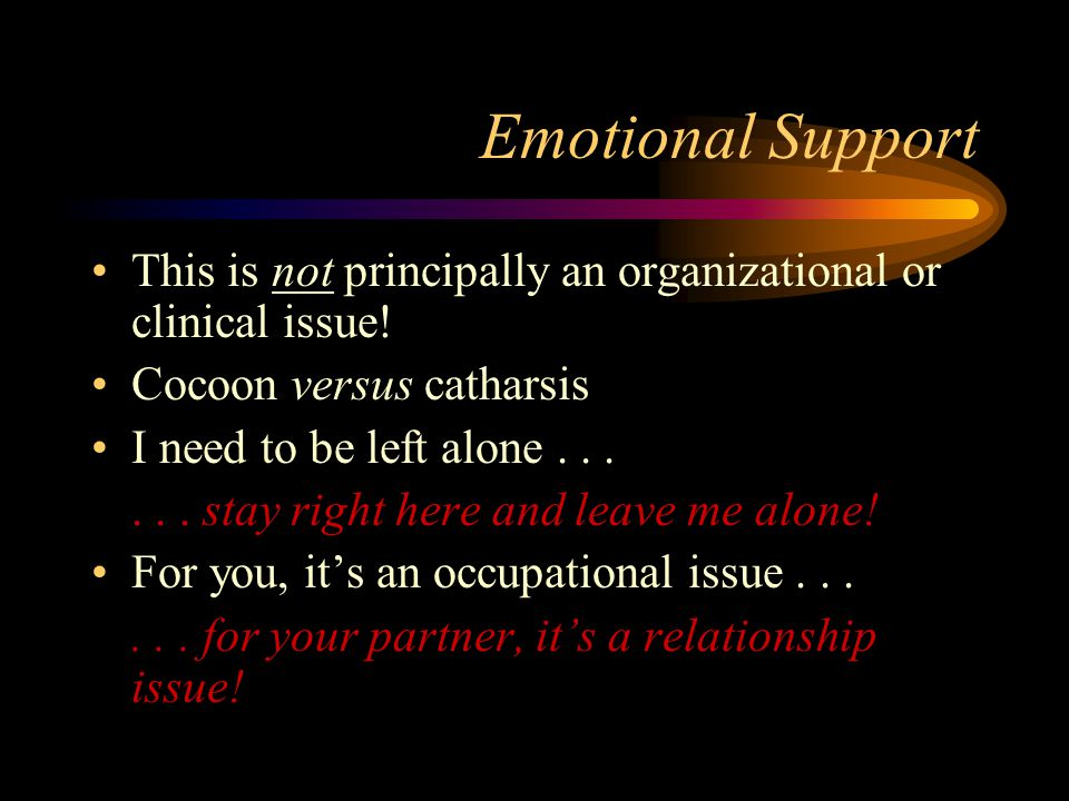 Emotional Support This is not principally an organizational or clinical issue! Cocoon versus catharsis.