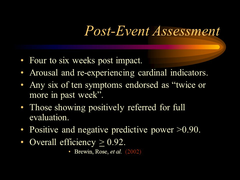 Post-Event Assessment