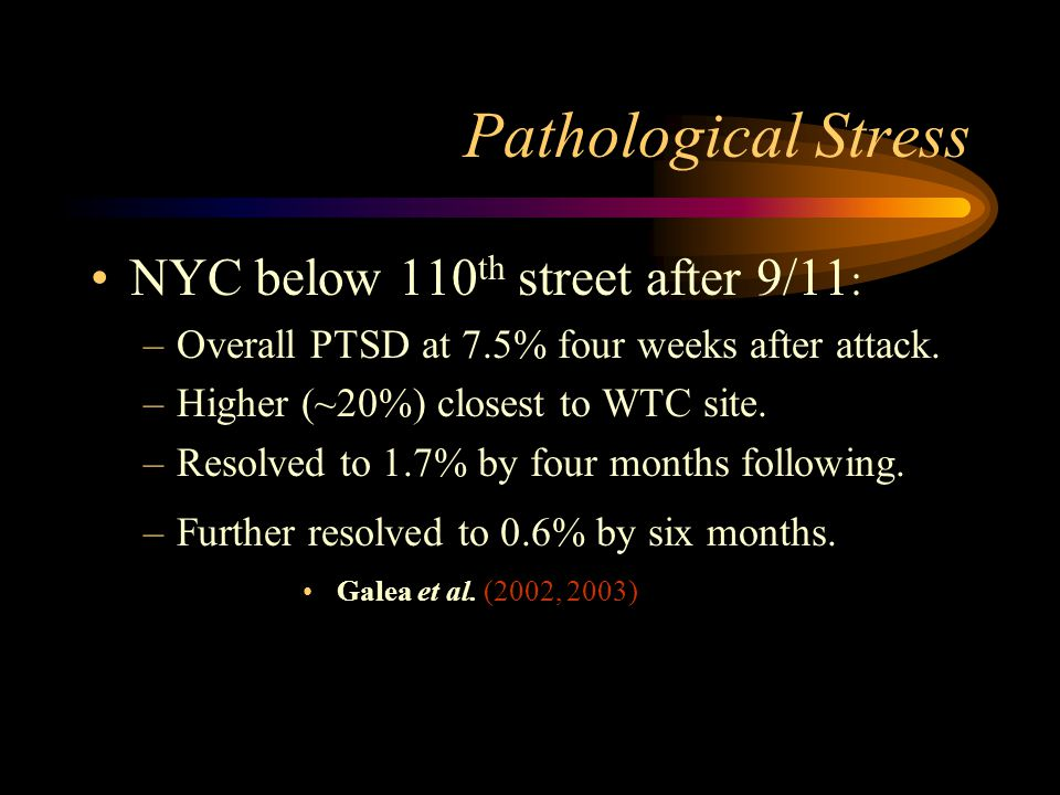 Pathological Stress NYC below 110th street after 9/11: