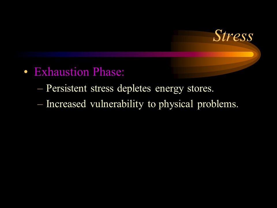 Stress Exhaustion Phase: Persistent stress depletes energy stores.