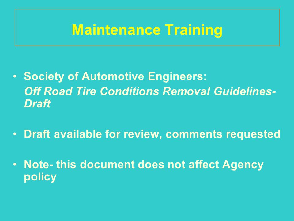 Maintenance Training Society of Automotive Engineers:
