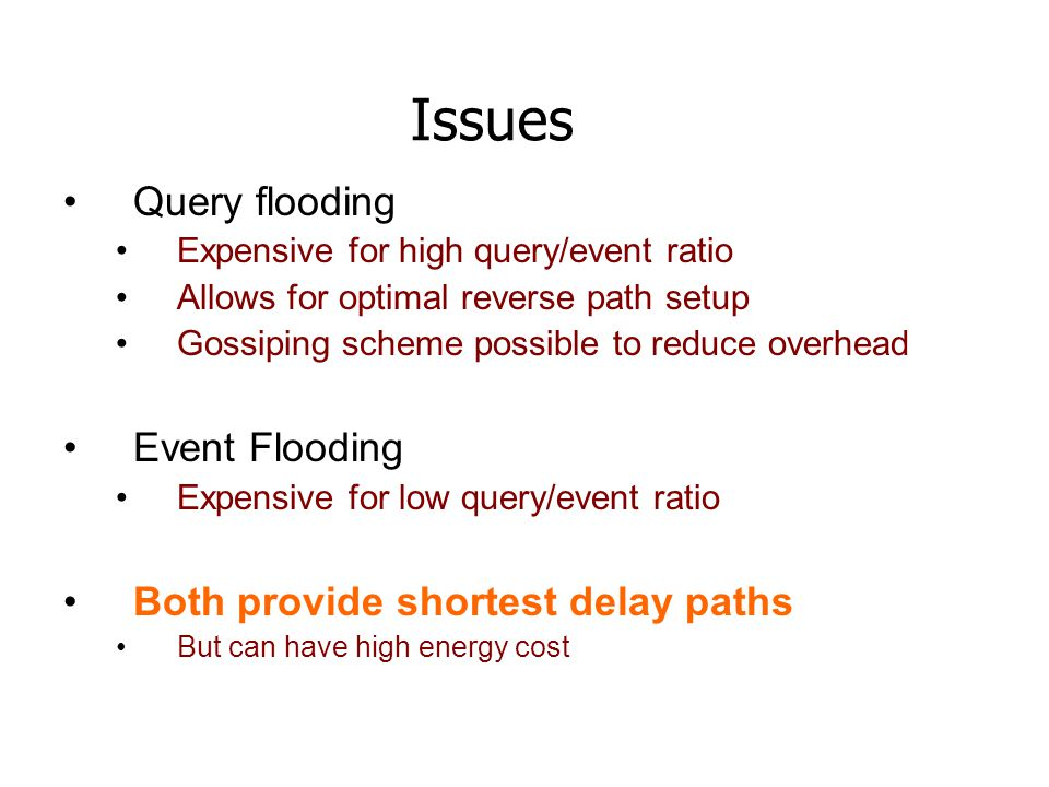 Issues Query flooding Event Flooding Both provide shortest delay paths