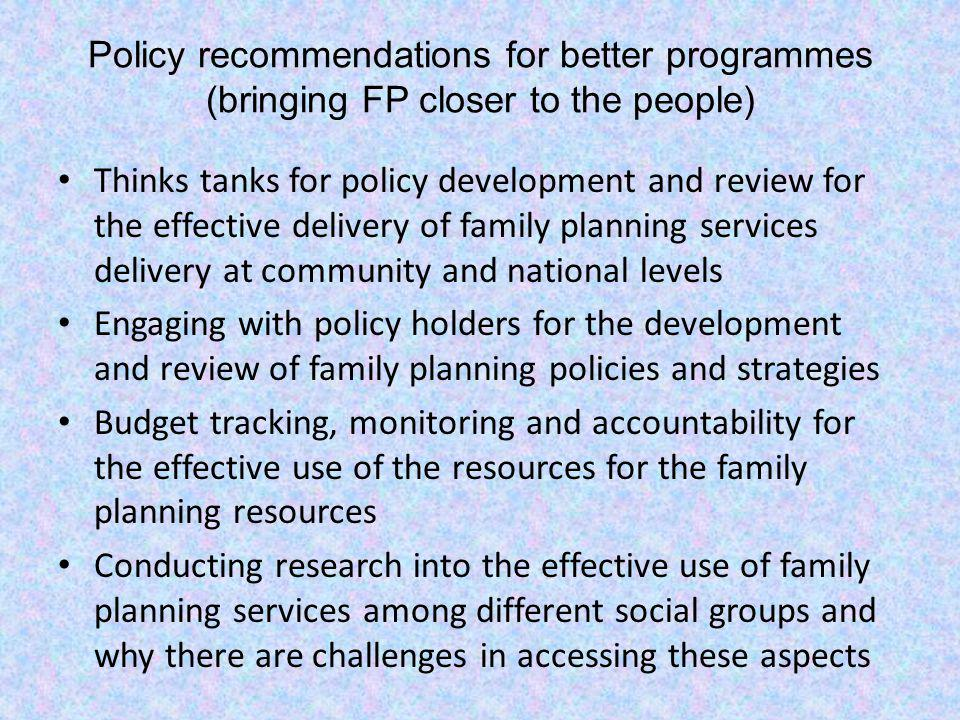 Policy recommendations for better programmes (bringing FP closer to the people)