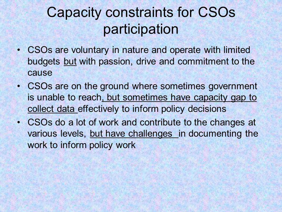 Capacity constraints for CSOs participation