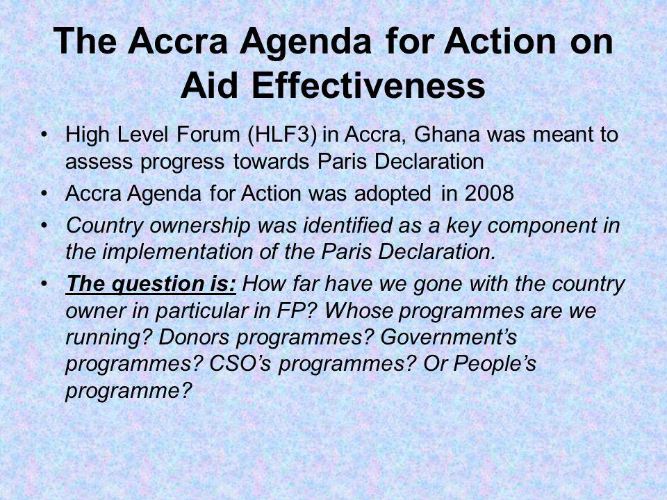 The Accra Agenda for Action on Aid Effectiveness