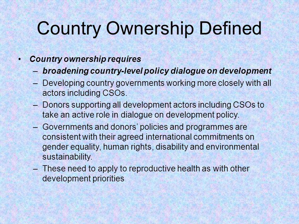Country Ownership Defined