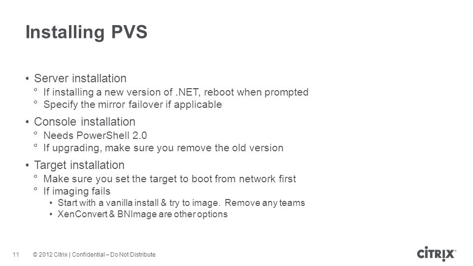 Installing PVS Server installation Console installation