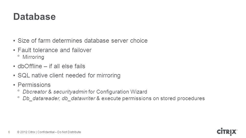 Database Size of farm determines database server choice