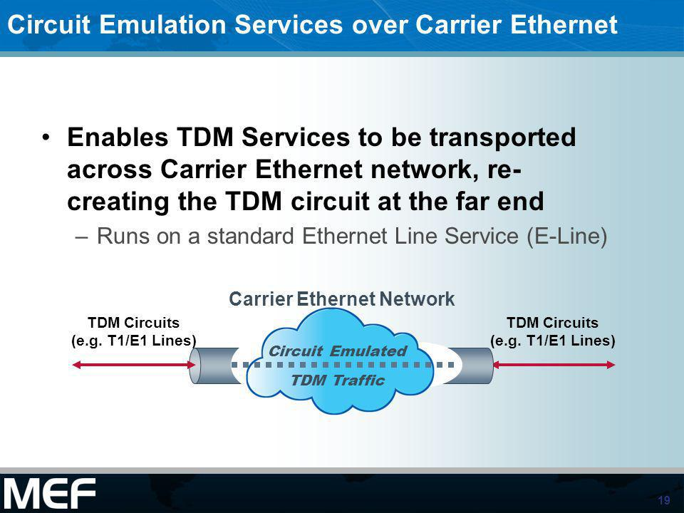 Circuit Emulation Services over Carrier Ethernet