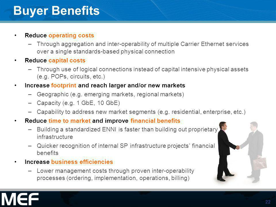 Buyer Benefits Reduce operating costs