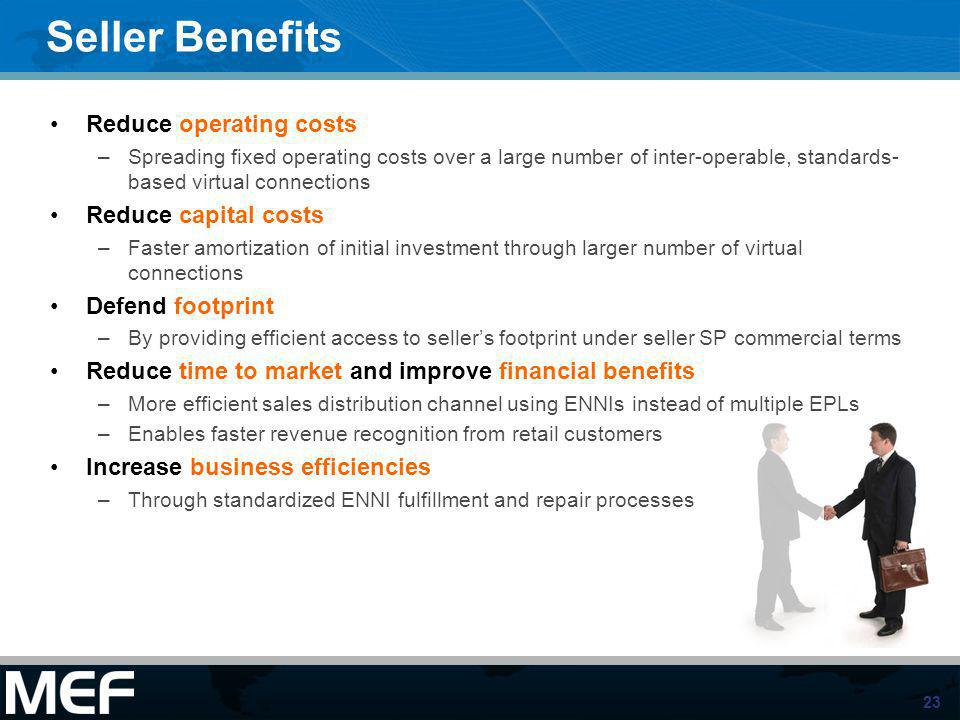 Seller Benefits Reduce operating costs Reduce capital costs