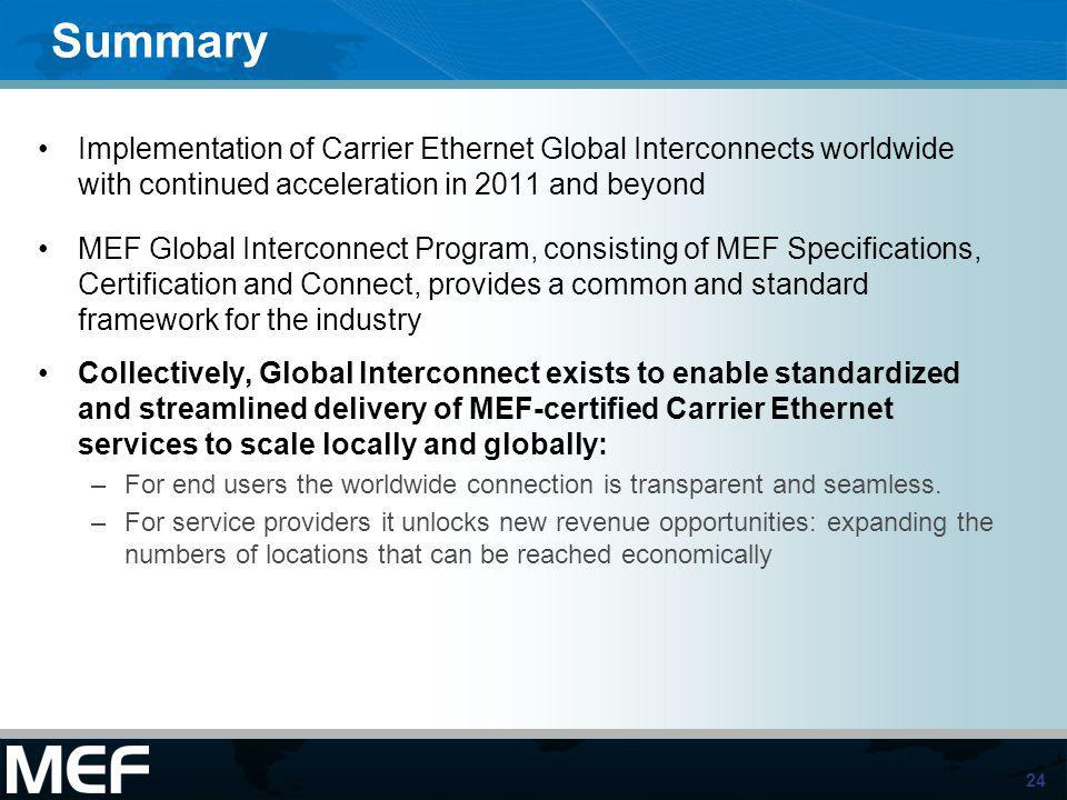Summary Implementation of Carrier Ethernet Global Interconnects worldwide with continued acceleration in 2011 and beyond.