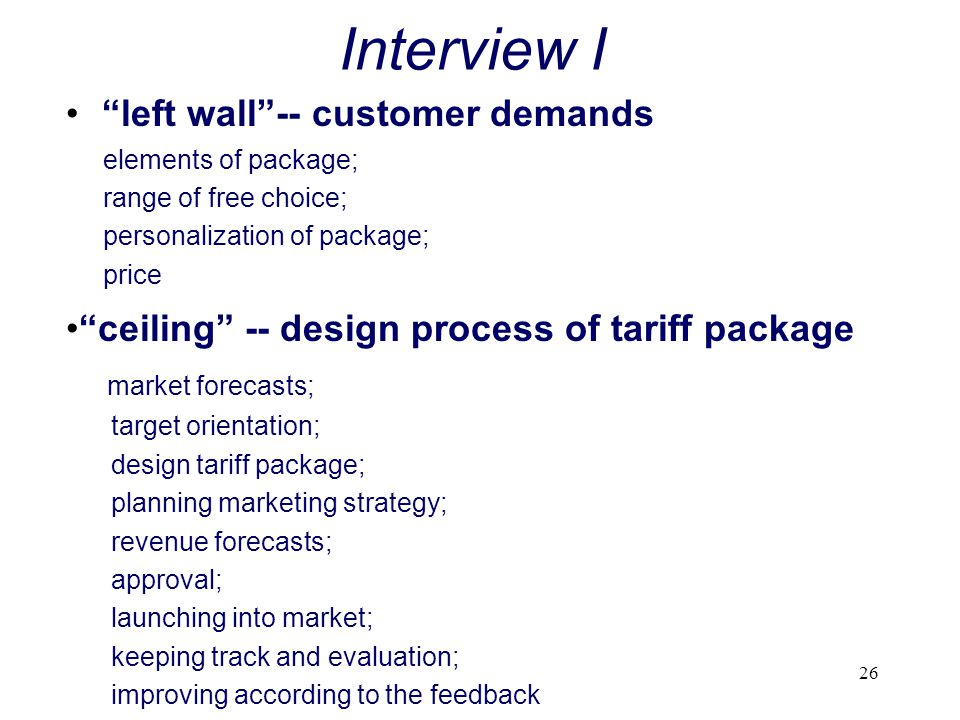 Interview I left wall -- customer demands