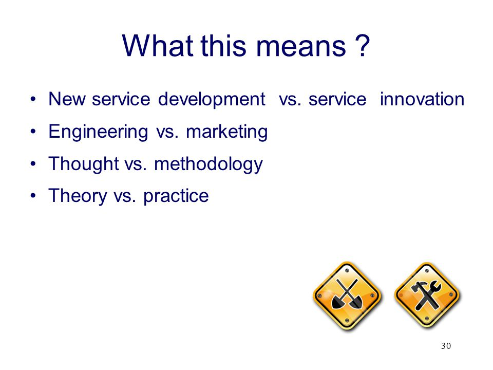 What this means New service development vs. service innovation