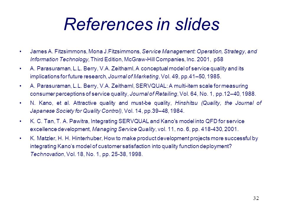 References in slides
