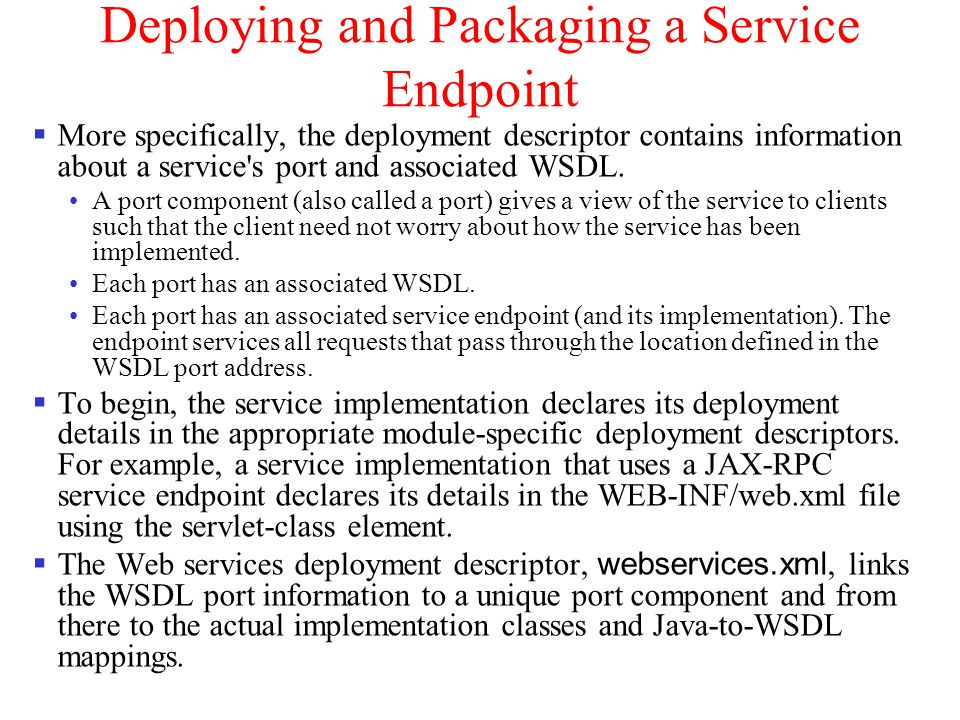 Deploying and Packaging a Service Endpoint