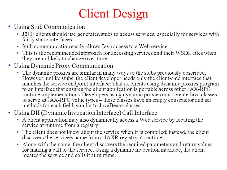 Client Design Using Stub Communication
