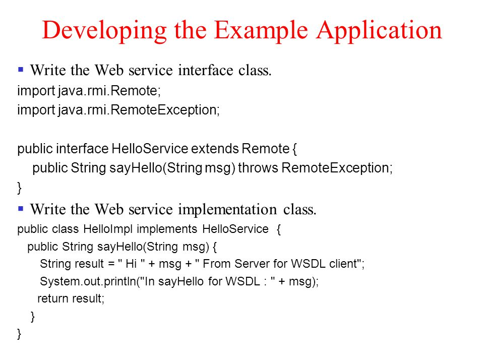 Developing the Example Application