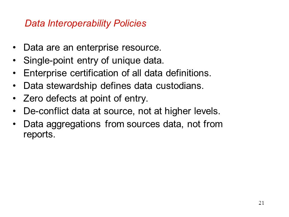Data Interoperability Policies