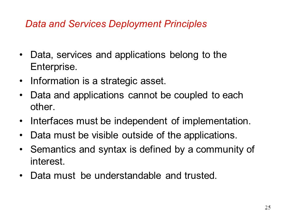 Data and Services Deployment Principles