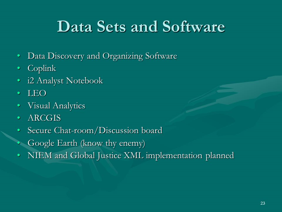 Data Sets and Software Data Discovery and Organizing Software Coplink