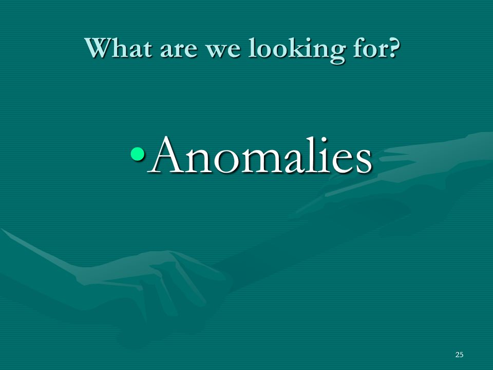 What are we looking for Anomalies