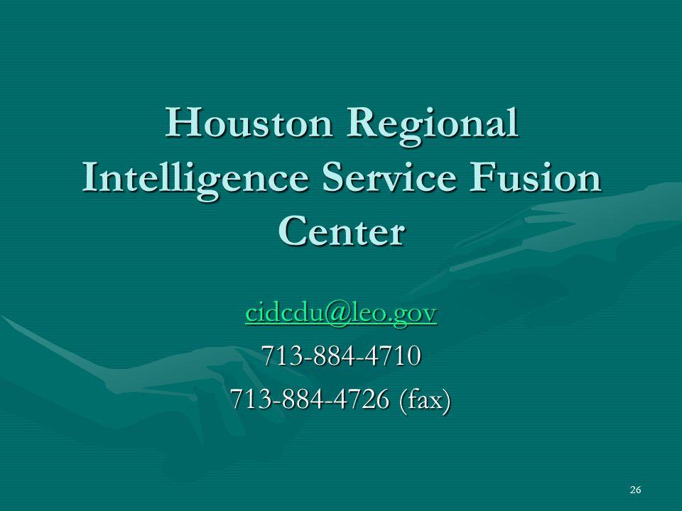 Houston Regional Intelligence Service Fusion Center