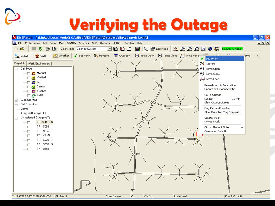 Verifying the Outage