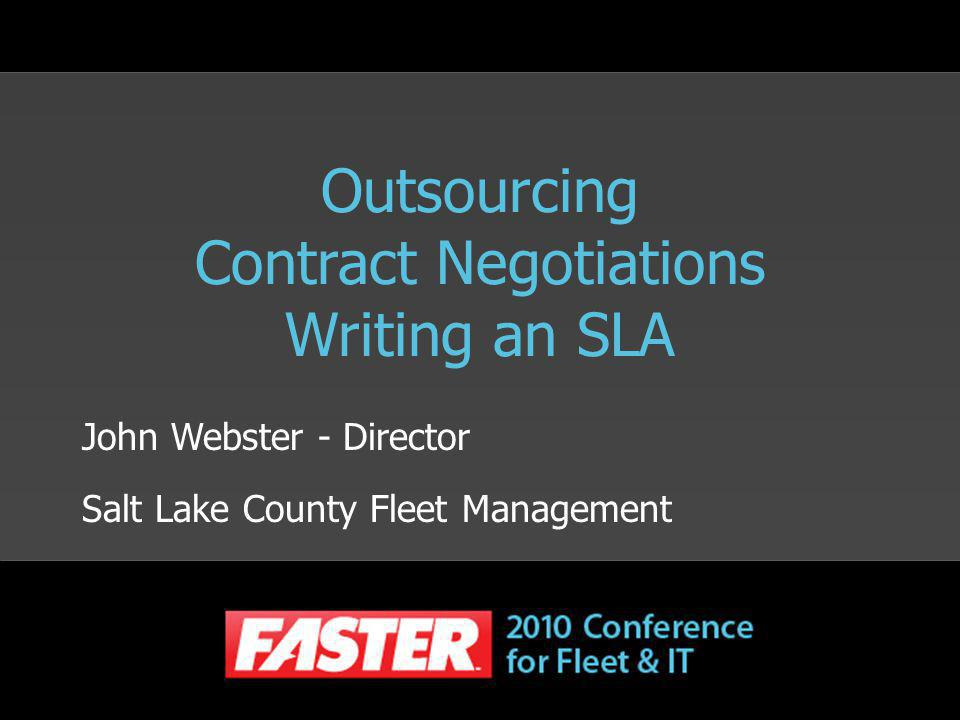 Outsourcing Contract Negotiations Writing an SLA