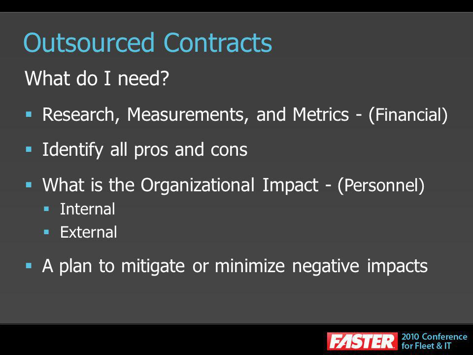 Outsourced Contracts What do I need