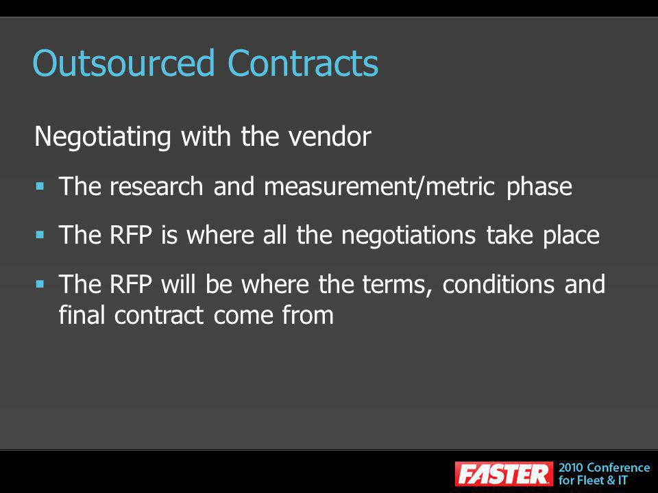 Outsourced Contracts Negotiating with the vendor