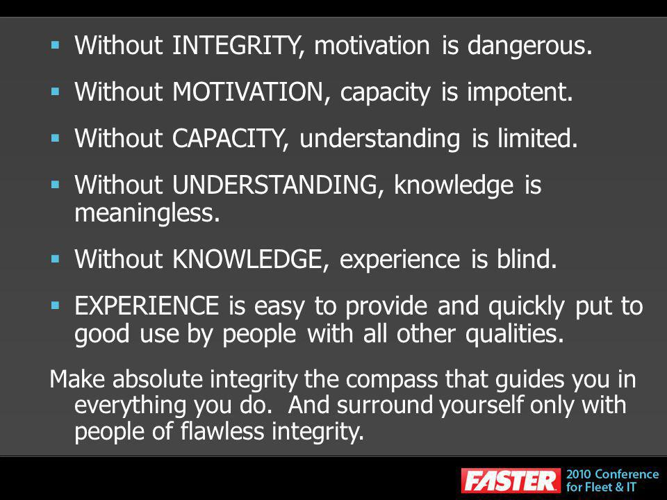 Without INTEGRITY, motivation is dangerous.