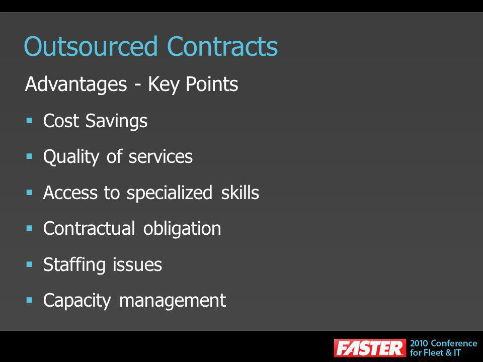 Outsourced Contracts Advantages - Key Points Cost Savings