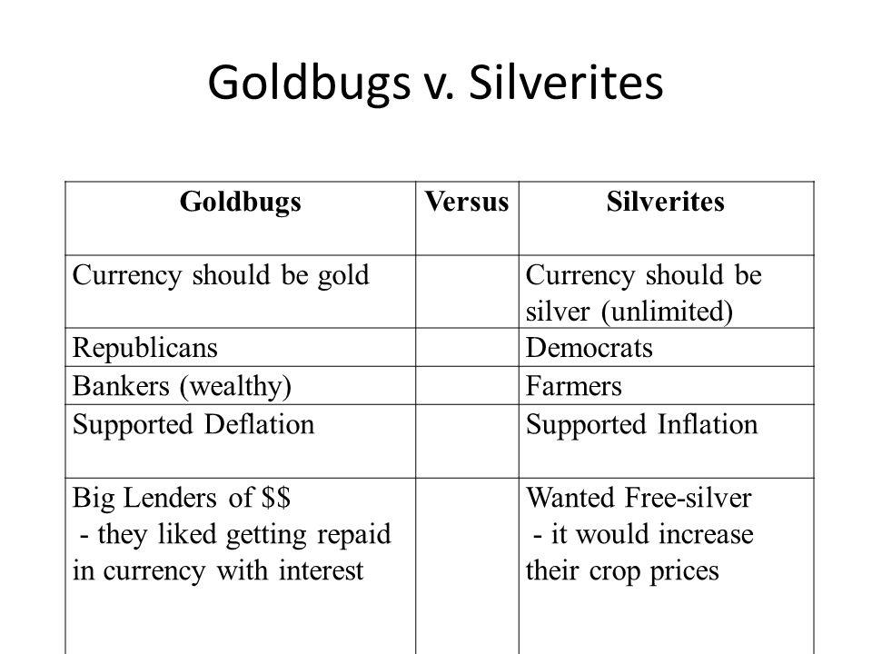 Goldbugs v. Silverites Goldbugs Versus Silverites