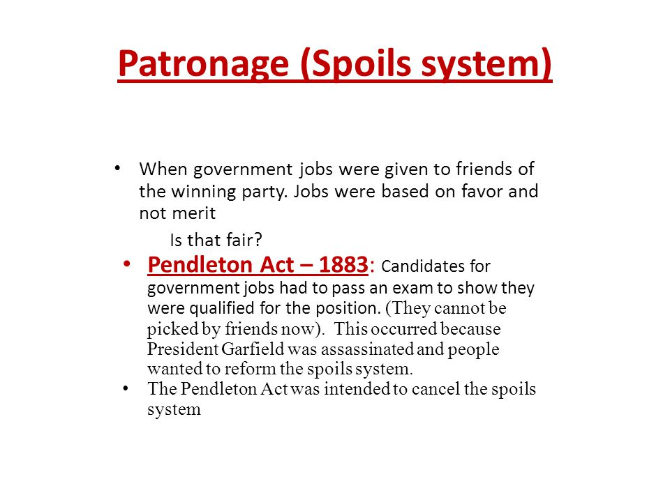 Patronage (Spoils system)