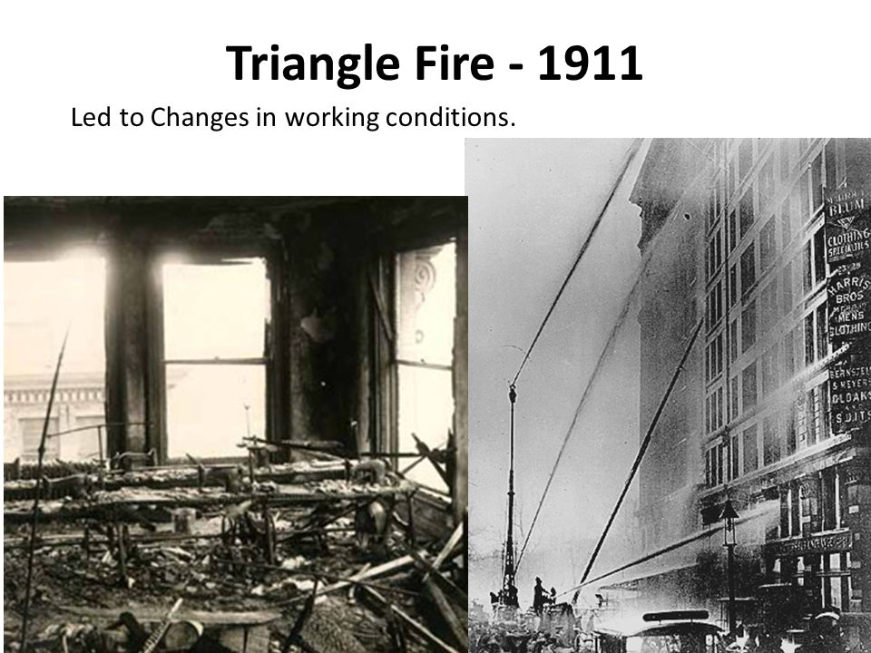 Triangle Fire - 1911 Led to Changes in working conditions.