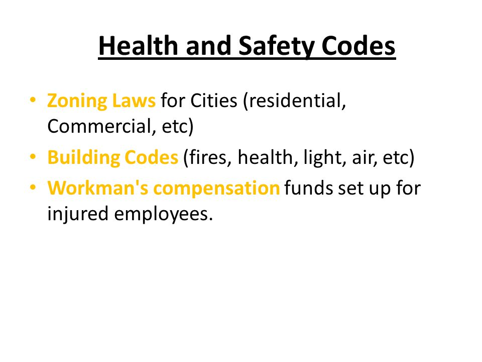 Health and Safety Codes