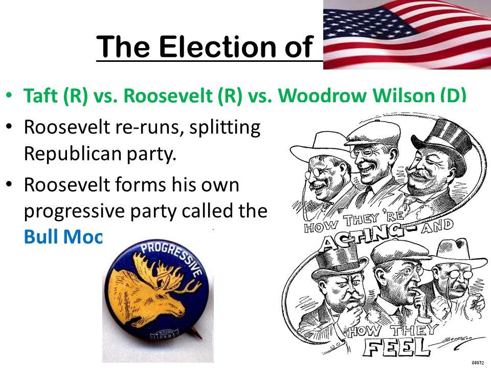 The Election of 1912 Taft (R) vs. Roosevelt (R) vs. Woodrow Wilson (D)
