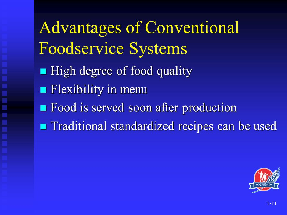 Advantages of Conventional Foodservice Systems