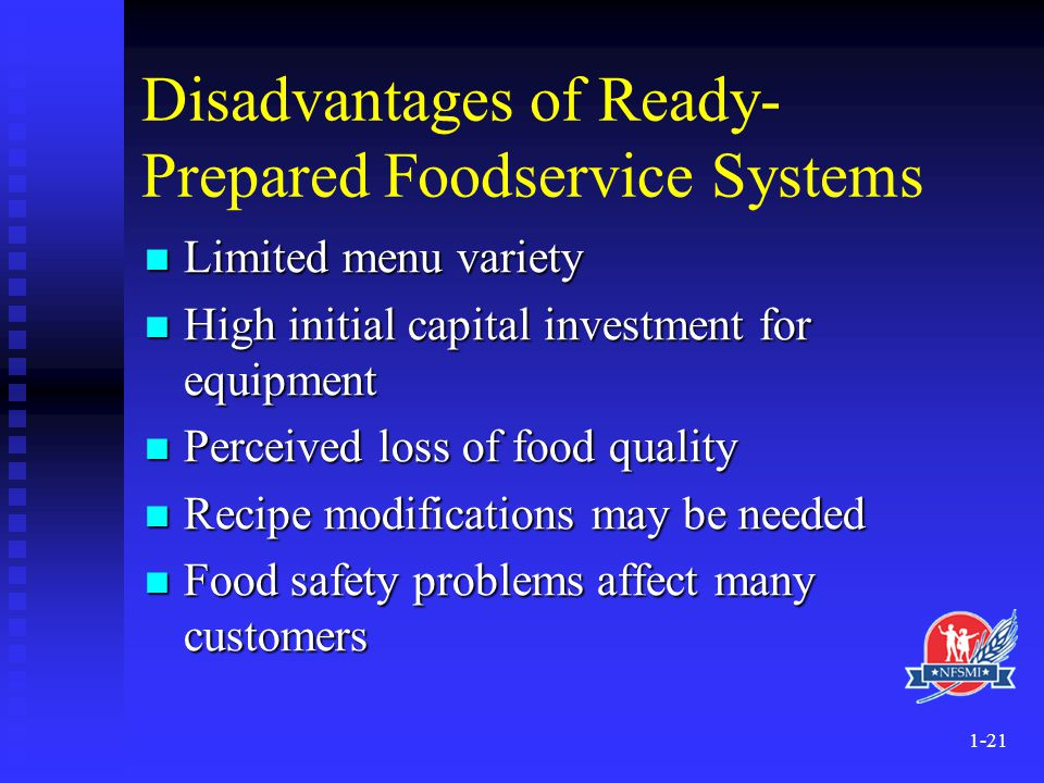 Disadvantages of Ready-Prepared Foodservice Systems
