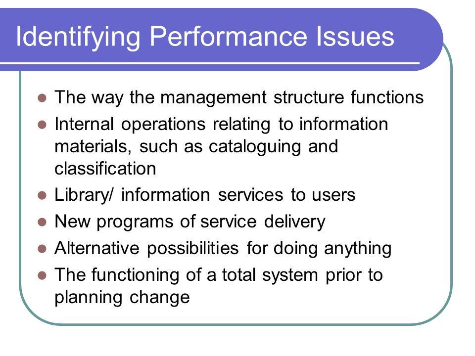 Identifying Performance Issues