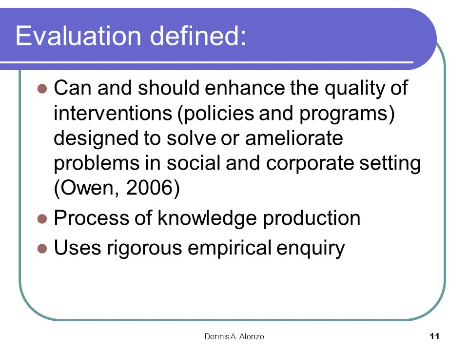 Evaluation defined: