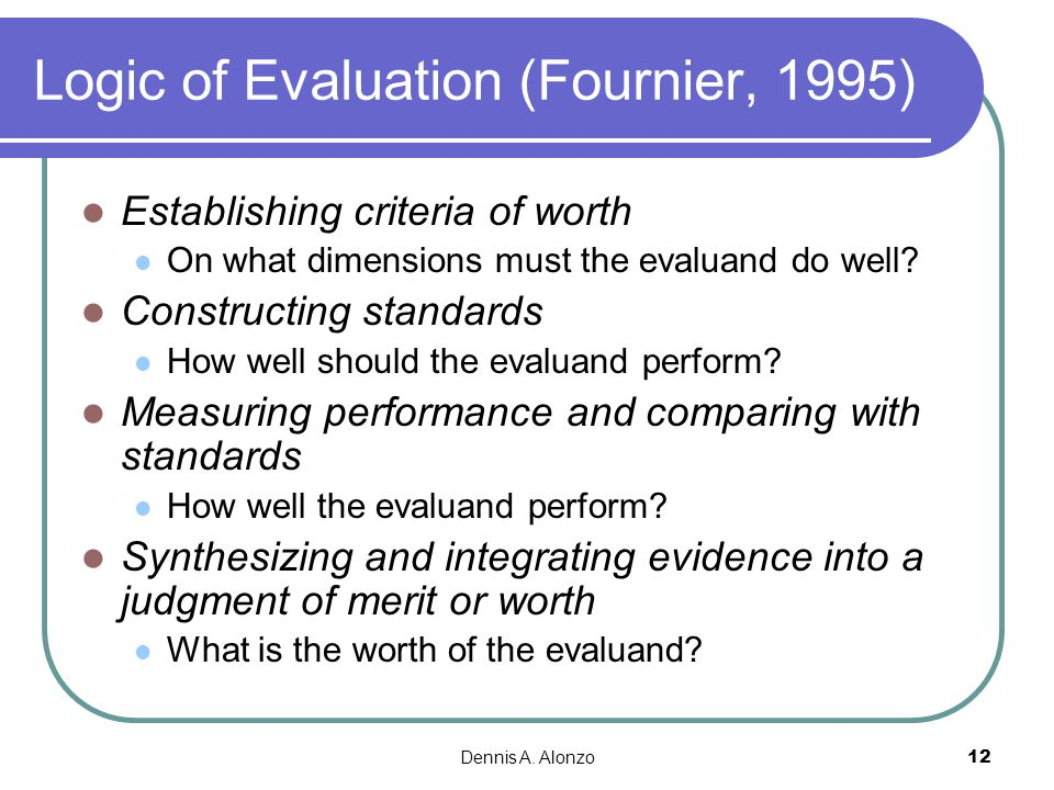 Logic of Evaluation (Fournier, 1995)