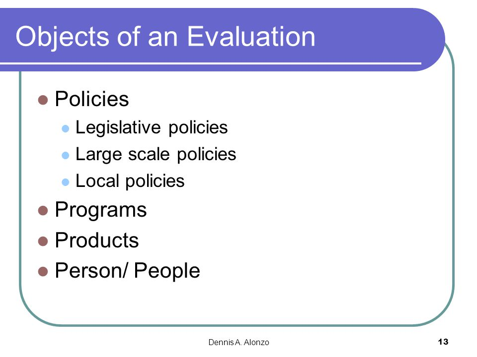 Objects of an Evaluation