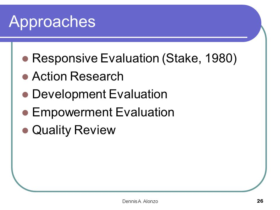 Approaches Responsive Evaluation (Stake, 1980) Action Research