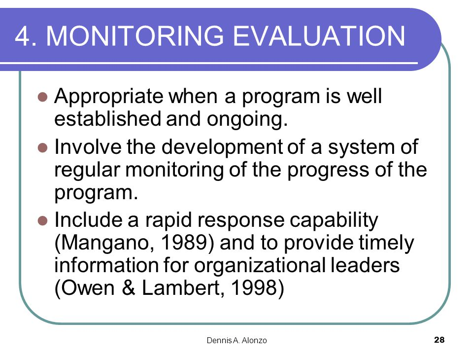 4. MONITORING EVALUATION
