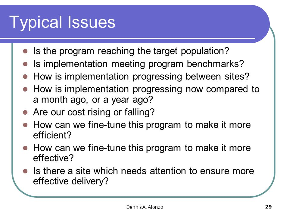 Typical Issues Is the program reaching the target population