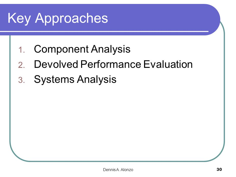 Key Approaches Component Analysis Devolved Performance Evaluation