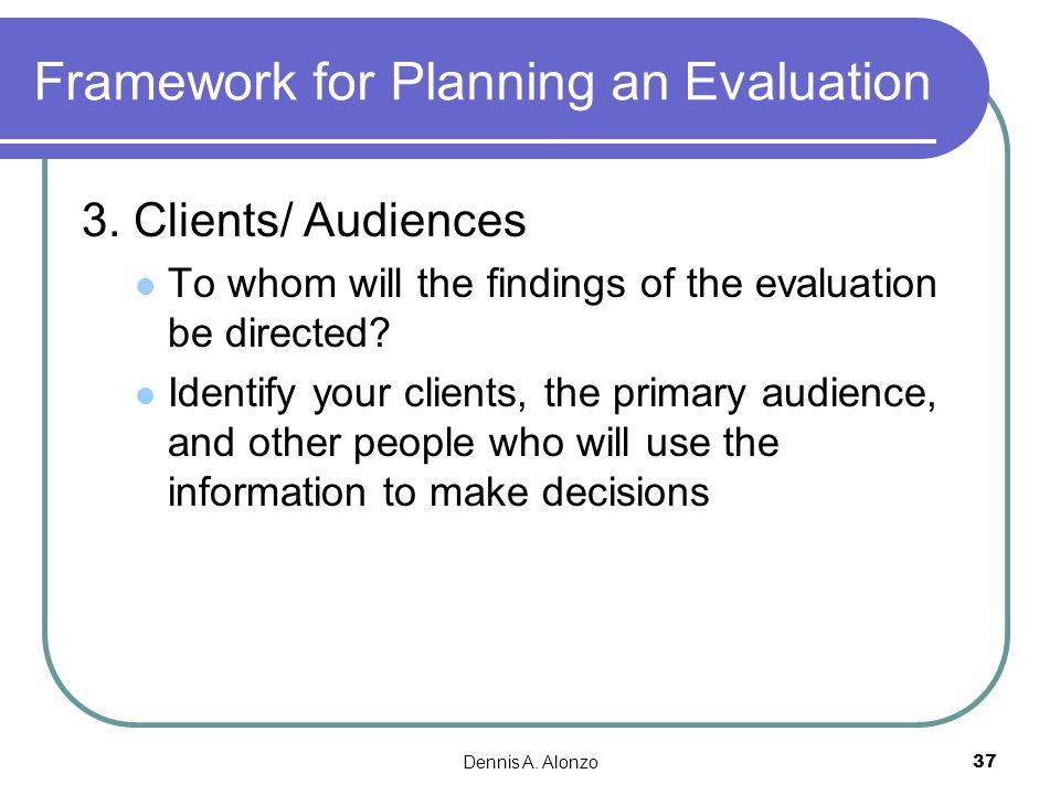 Framework for Planning an Evaluation