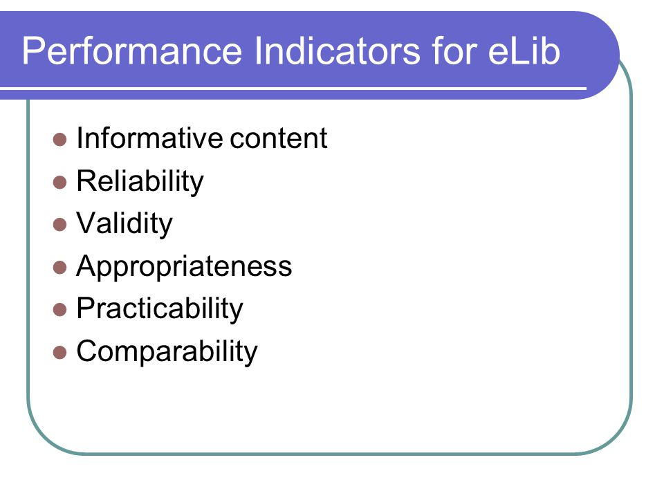 Performance Indicators for eLib